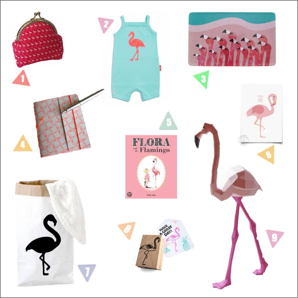 9x hippe flamingo's voor klein en groot