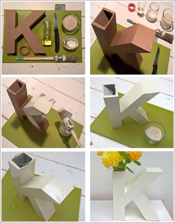 Lettervaas DIY kartonnen letter Xenos