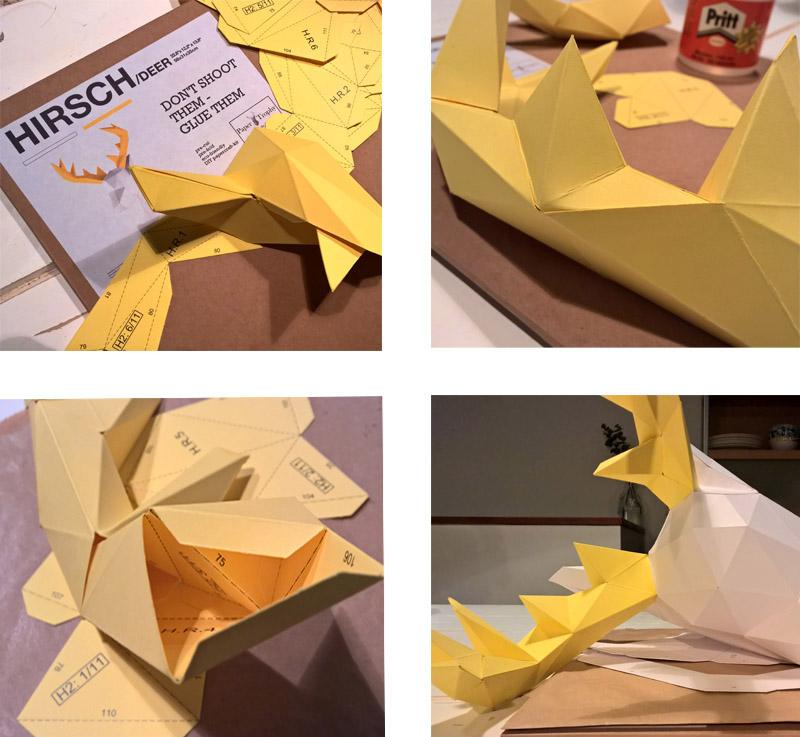 Paper origami deer DIY bought at papertrophy.com - Hippe origami hertenkop van papier