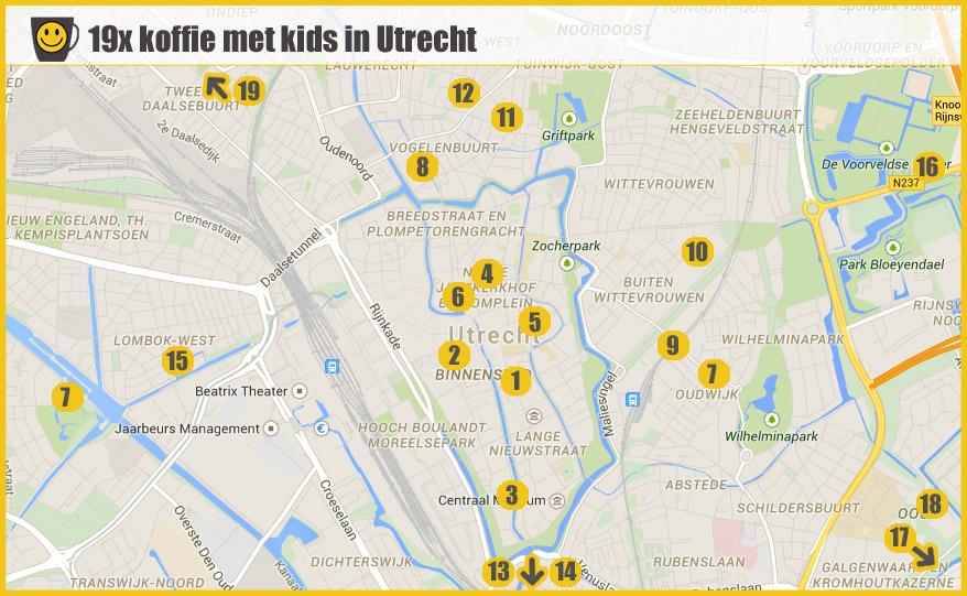 kaart koffie met kids in Utrecht Mary J blog